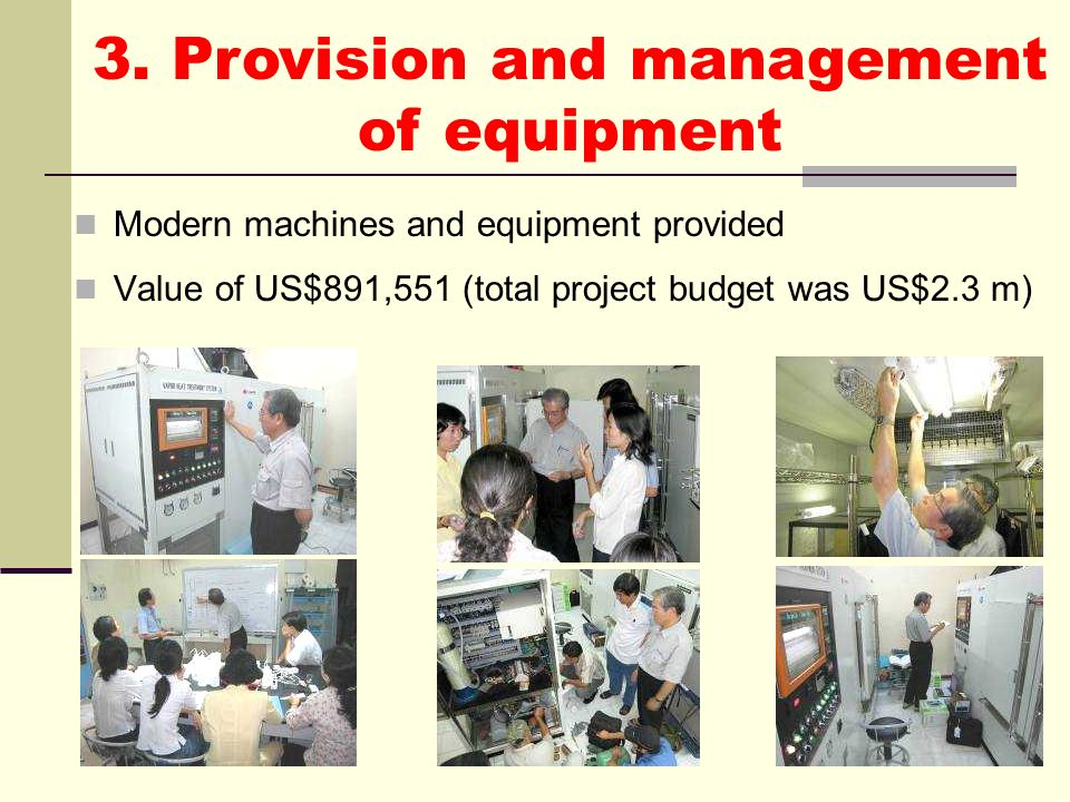 3. Provision and management of equipment