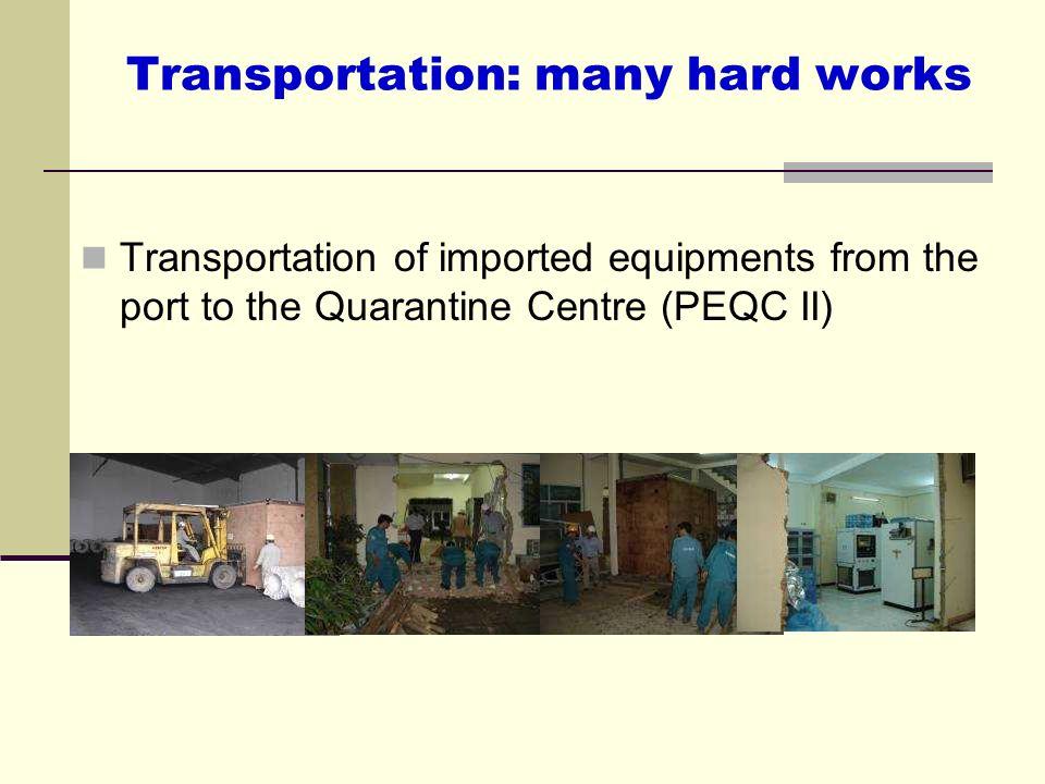 Transportation: many hard works