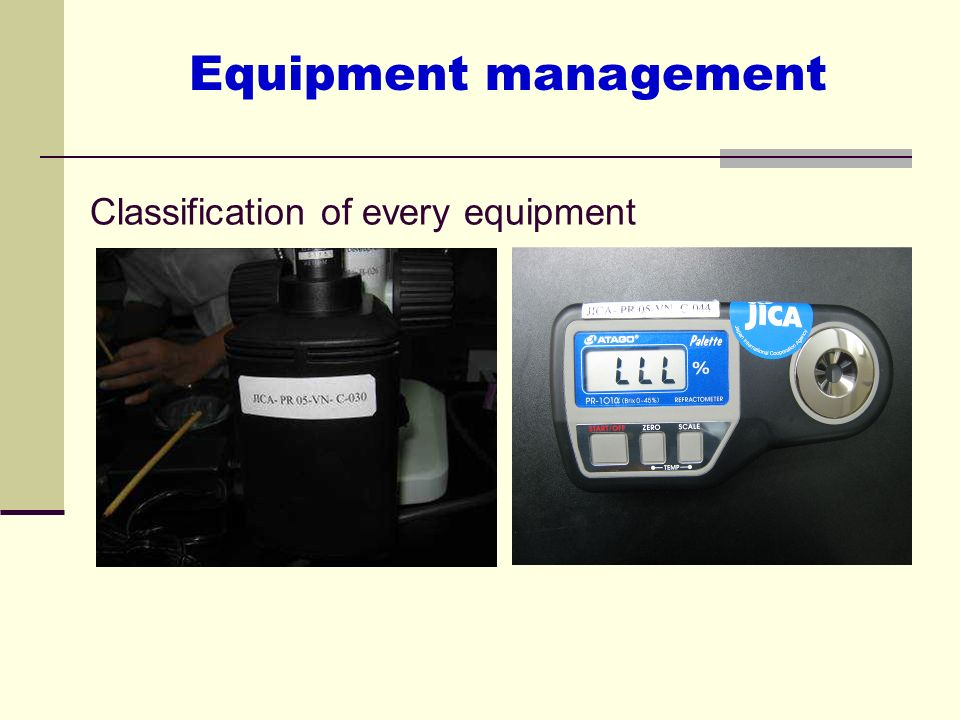 Classification of every equipment