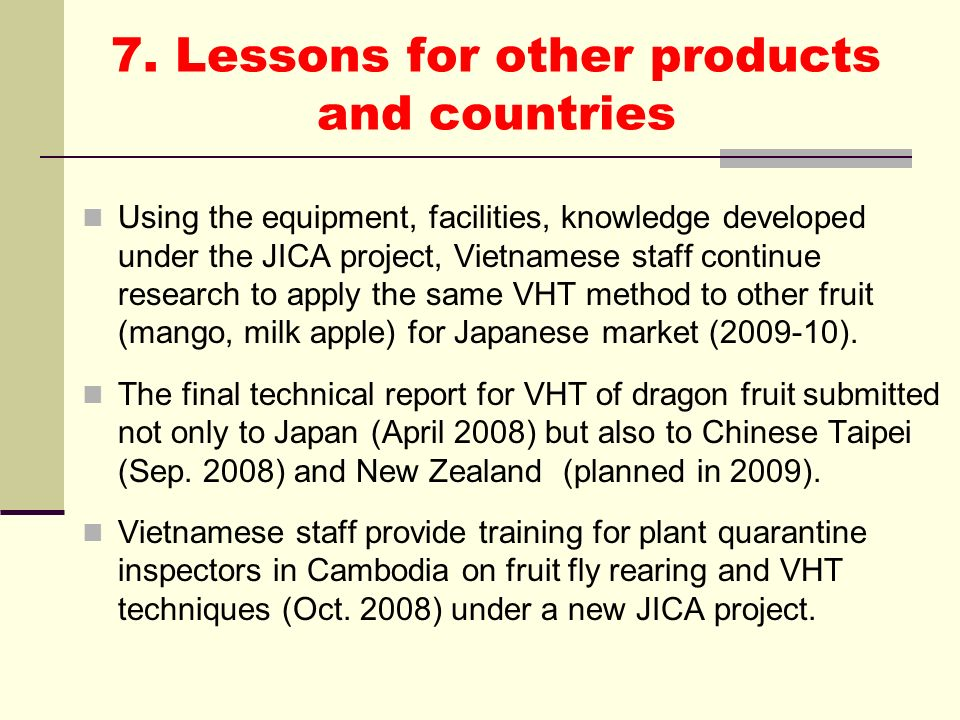 7. Lessons for other products and countries