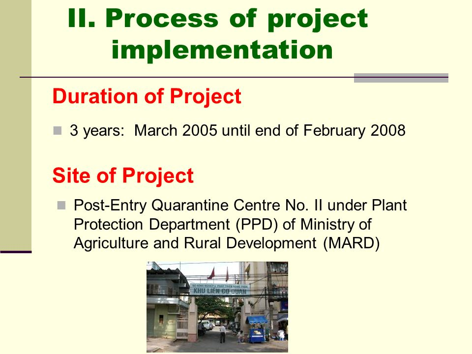 II. Process of project implementation Duration of Project
