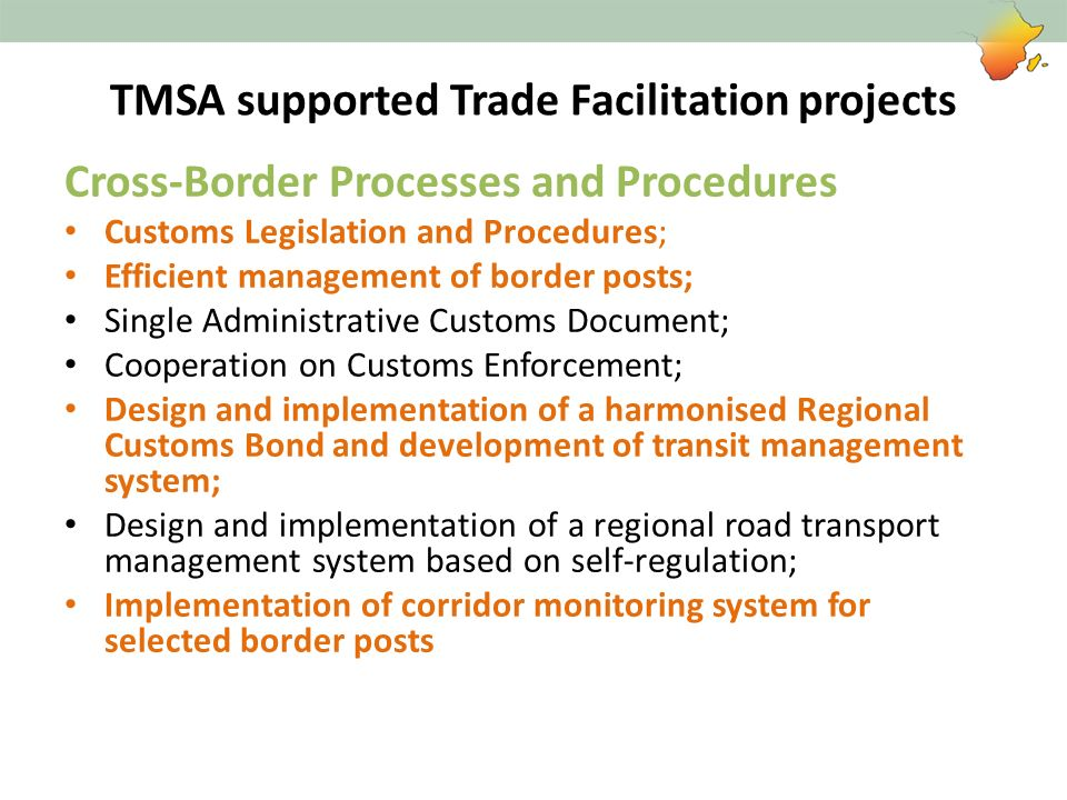 TMSA supported Trade Facilitation projects