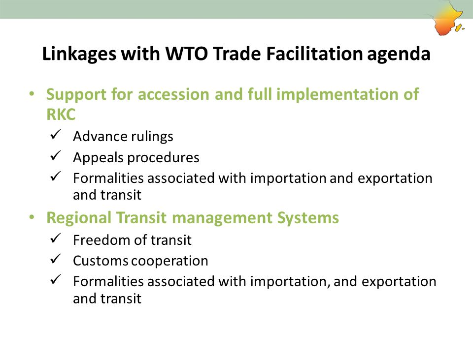 Linkages with WTO Trade Facilitation agenda