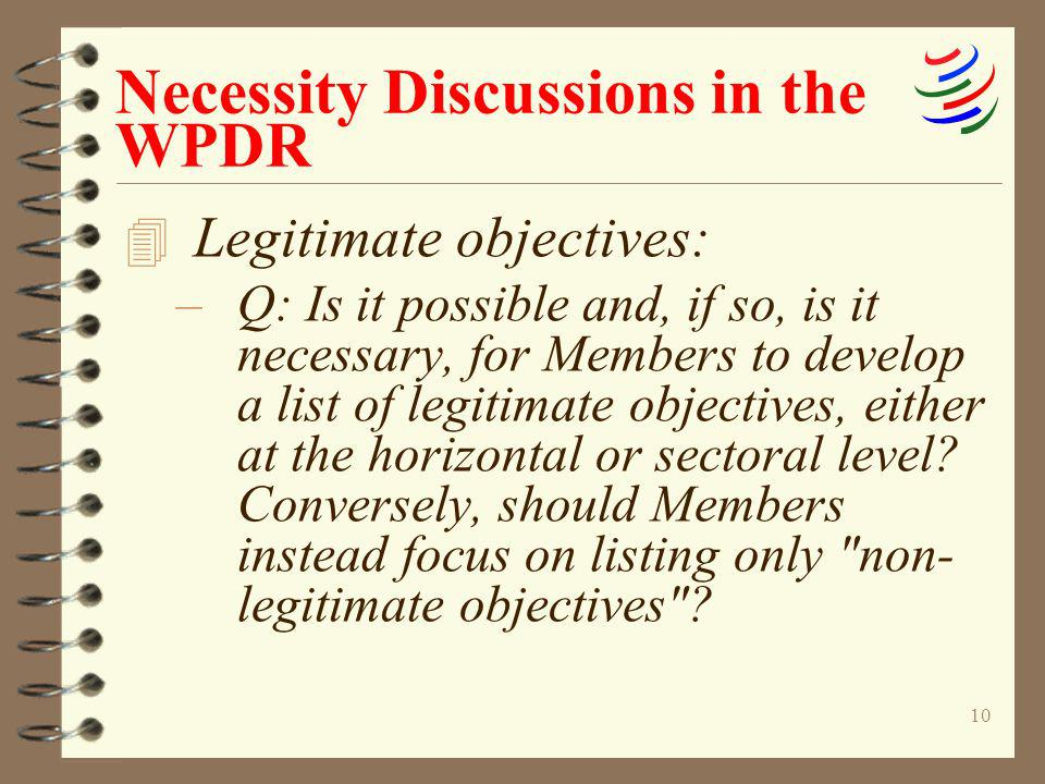 Necessity Discussions in the WPDR