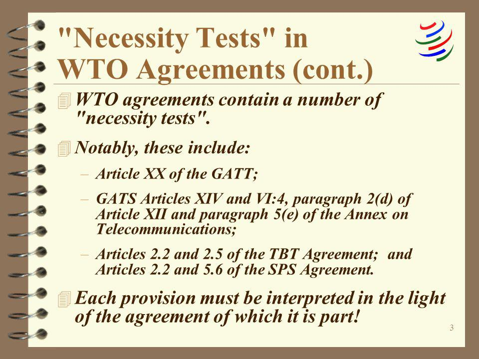 Necessity Tests in WTO Agreements (cont.)