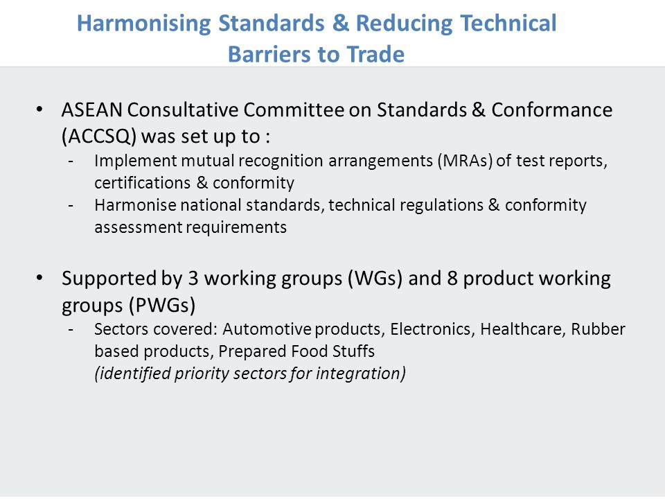 Harmonising Standards & Reducing Technical Barriers to Trade
