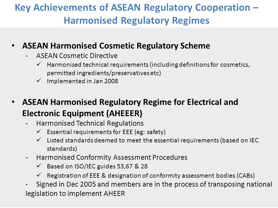 Key Achievements of ASEAN Regulatory Cooperation – Harmonised Regulatory Regimes