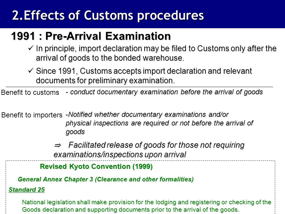 2.Effects of Customs procedures
