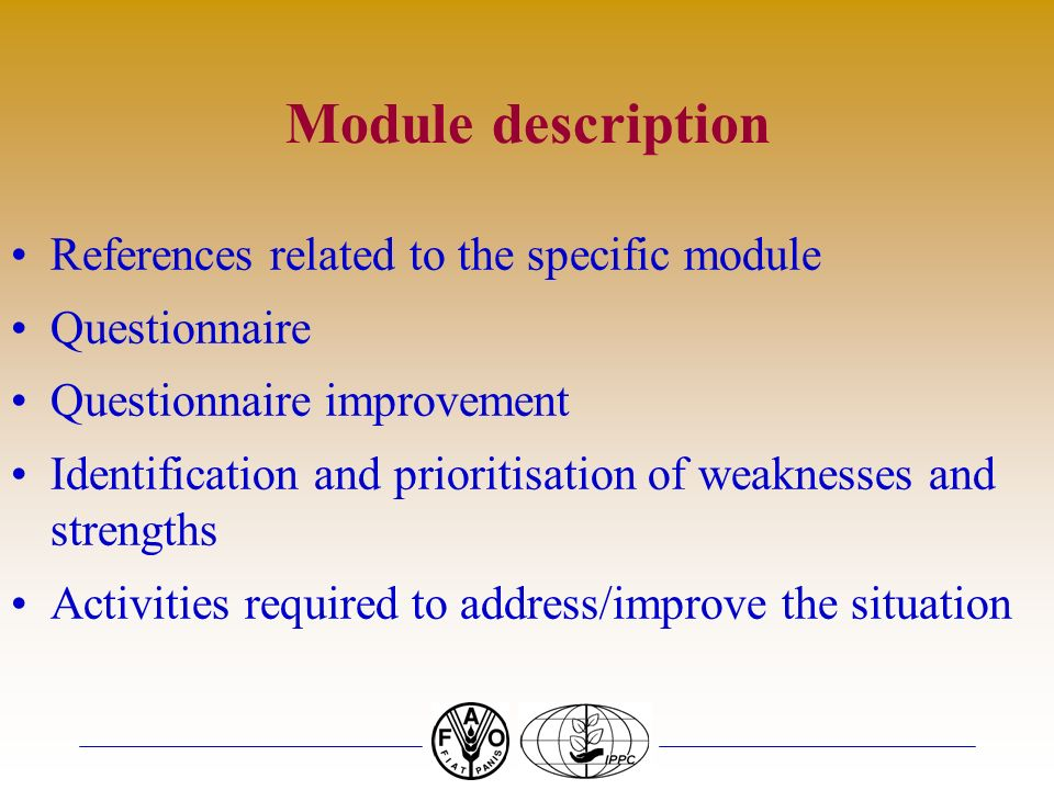 Module description References related to the specific module