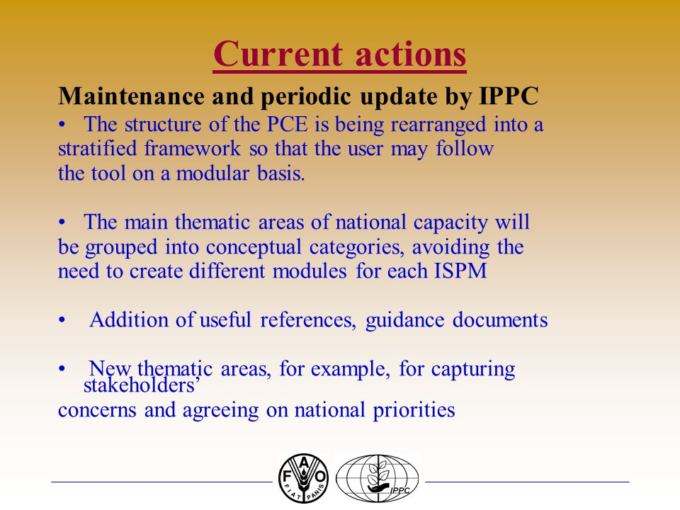 Current actions Maintenance and periodic update by IPPC