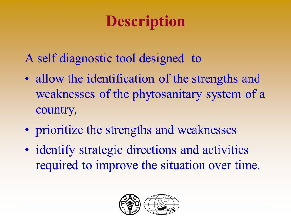 Description A self diagnostic tool designed to