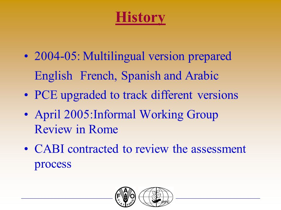 History : Multilingual version prepared