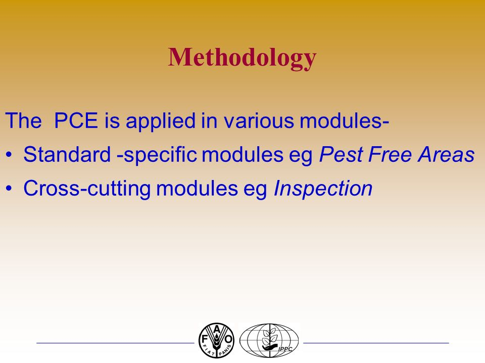 Methodology The PCE is applied in various modules-