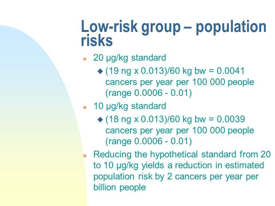 Low-risk group – population risks