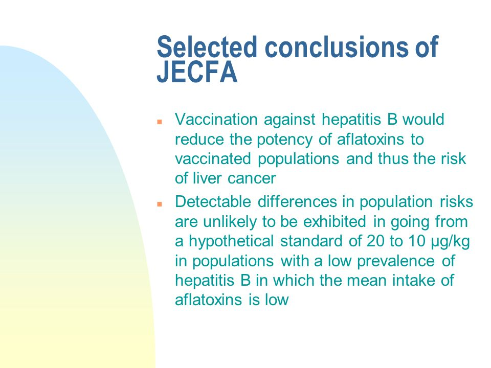 Selected conclusions of JECFA