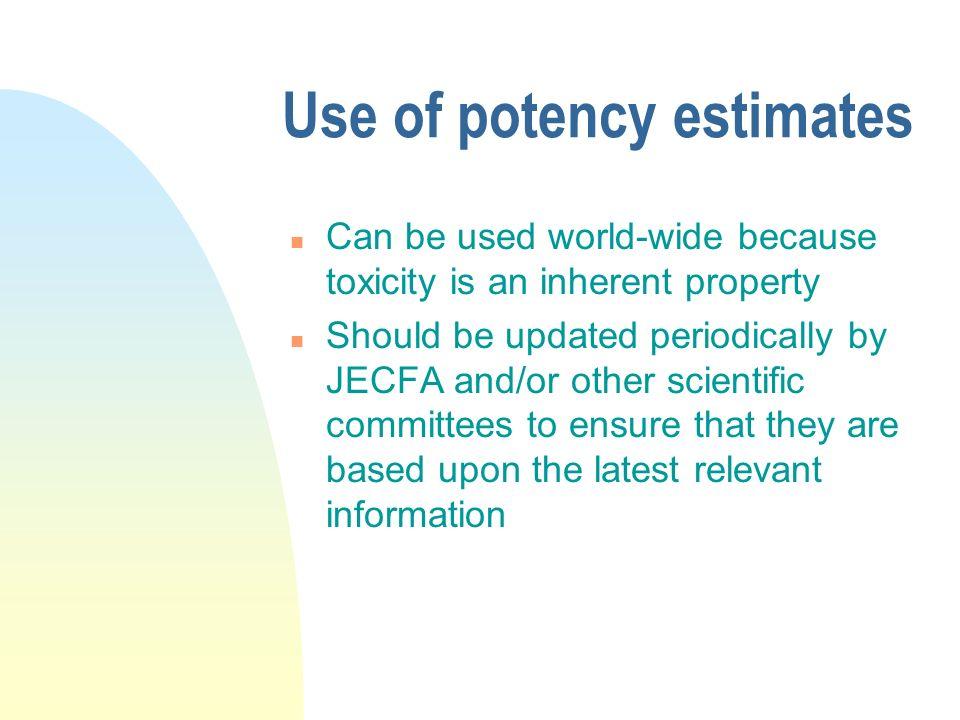 Use of potency estimates