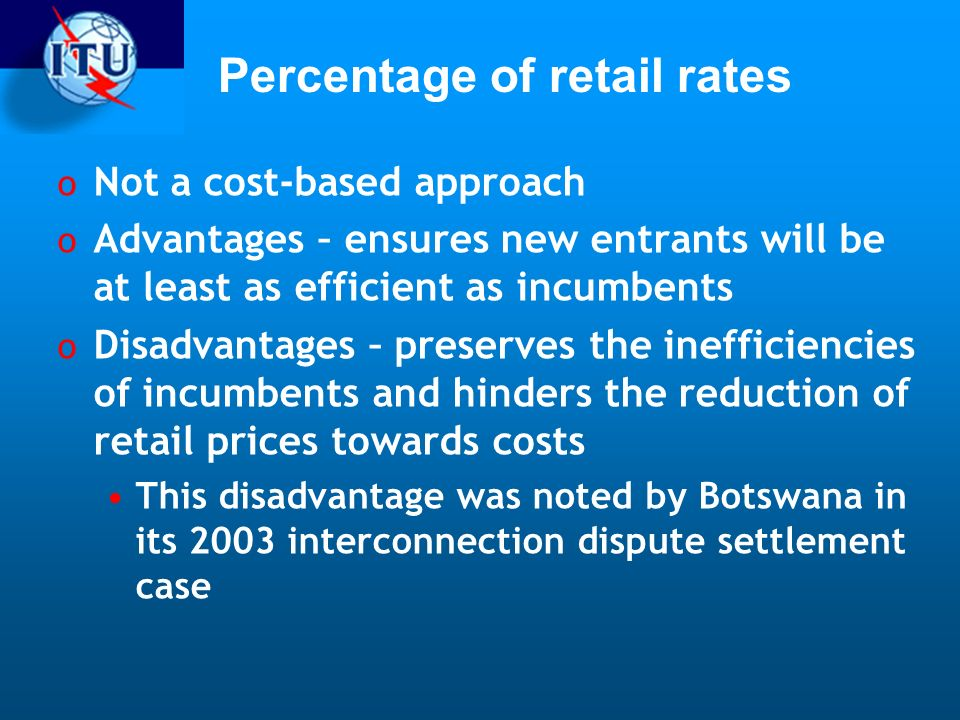Percentage of retail rates