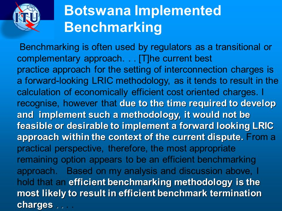 Botswana Implemented Benchmarking