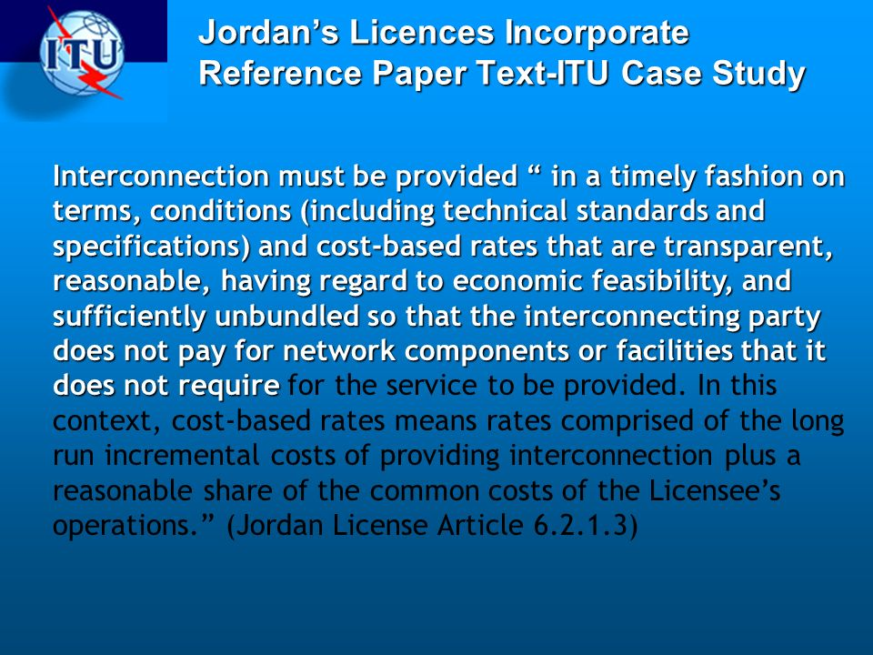 Jordan's Licences Incorporate Reference Paper Text-ITU Case Study