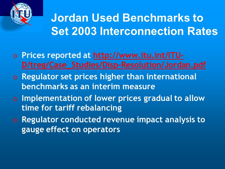 Jordan Used Benchmarks to Set 2003 Interconnection Rates