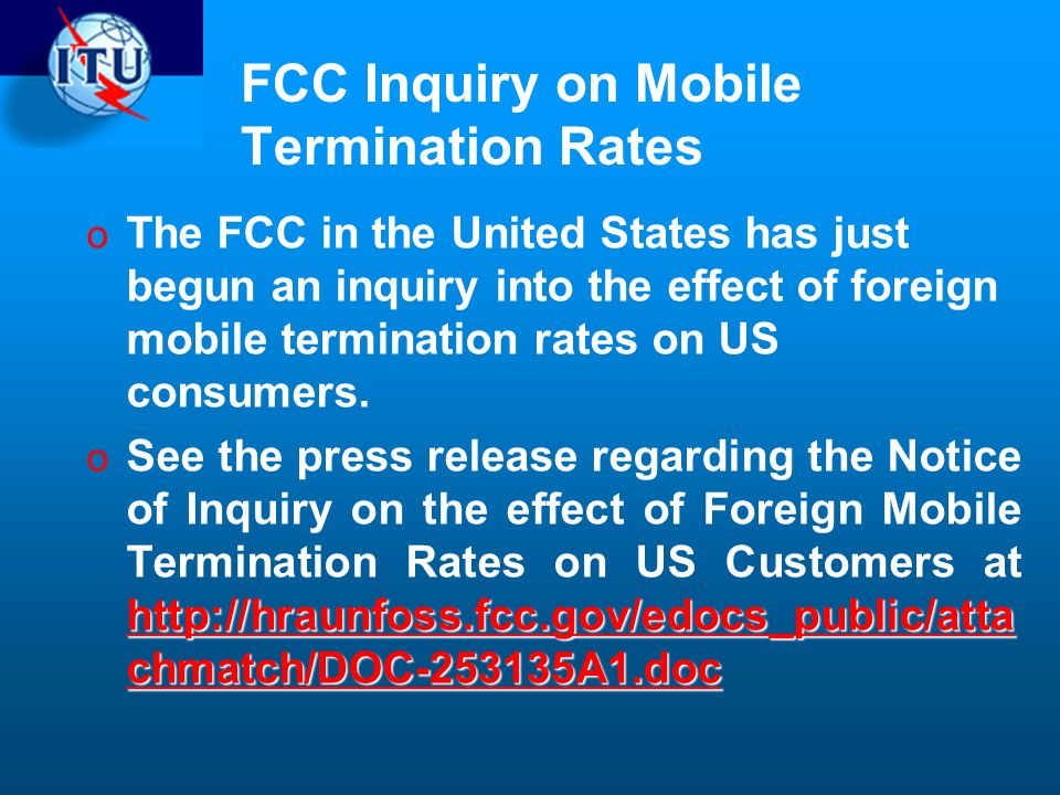 FCC Inquiry on Mobile Termination Rates