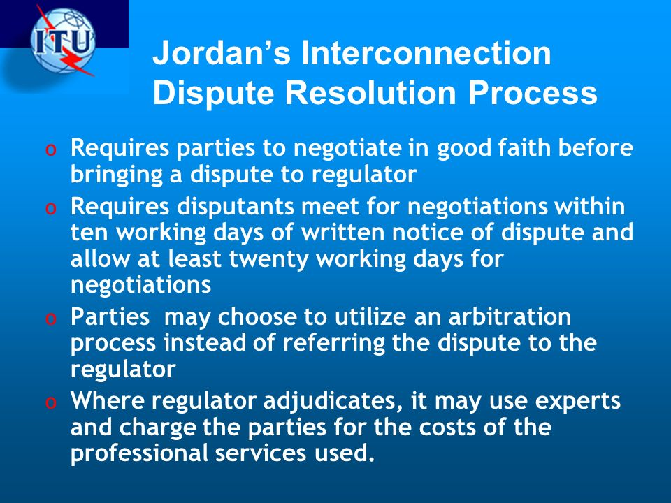 Jordan's Interconnection Dispute Resolution Process