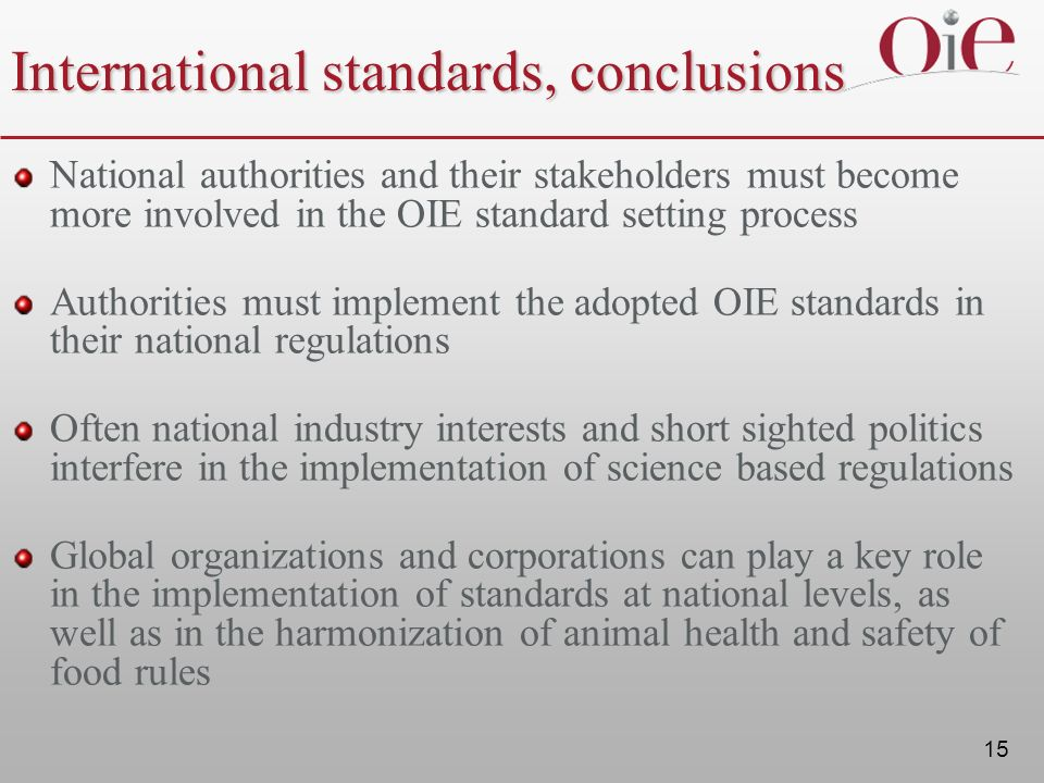 International standards, conclusions