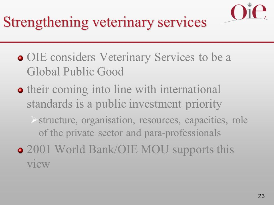 Strengthening veterinary services