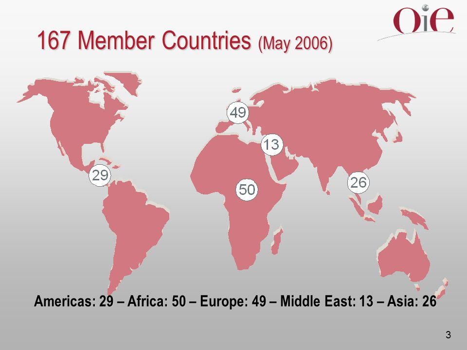 Americas: 29 – Africa: 50 – Europe: 49 – Middle East: 13 – Asia: 26