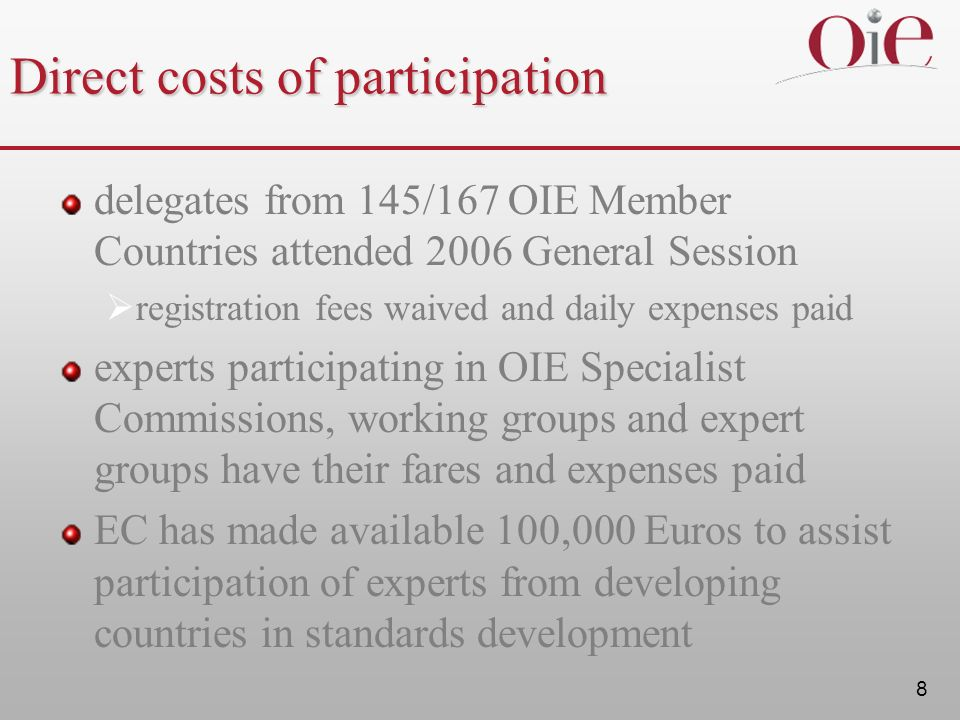 Direct costs of participation