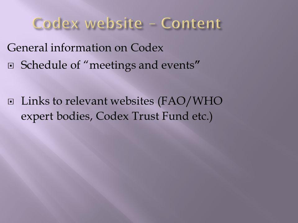 Codex website – Content