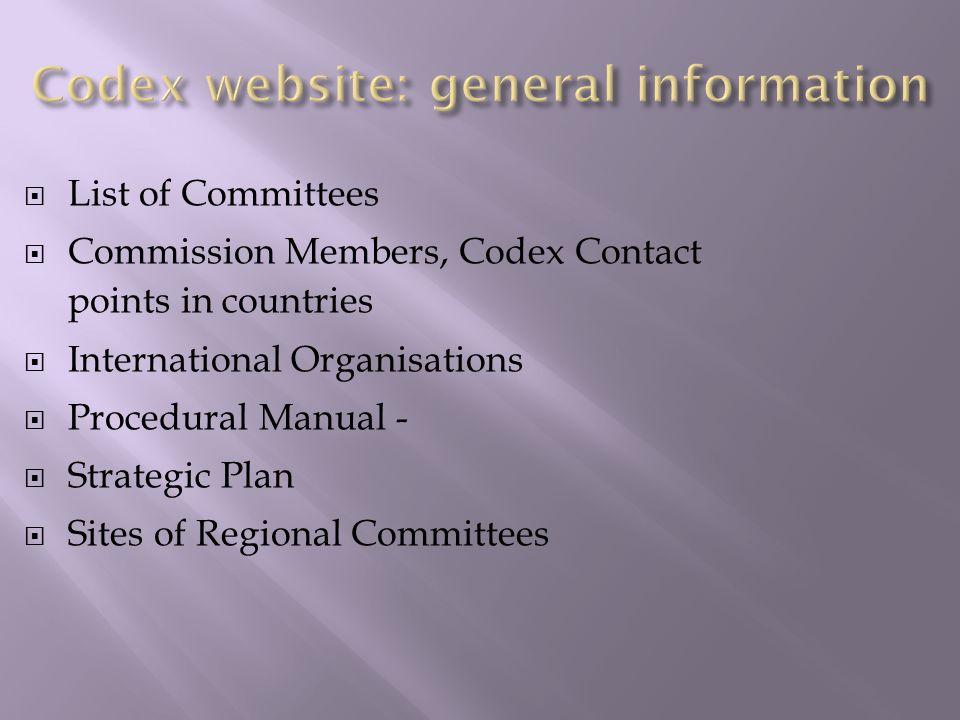 Codex website: general information