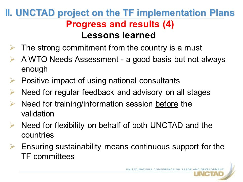 II. UNCTAD project on the TF implementation Plans