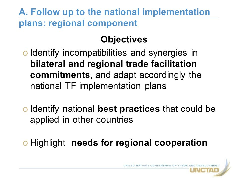 A. Follow up to the national implementation plans: regional component
