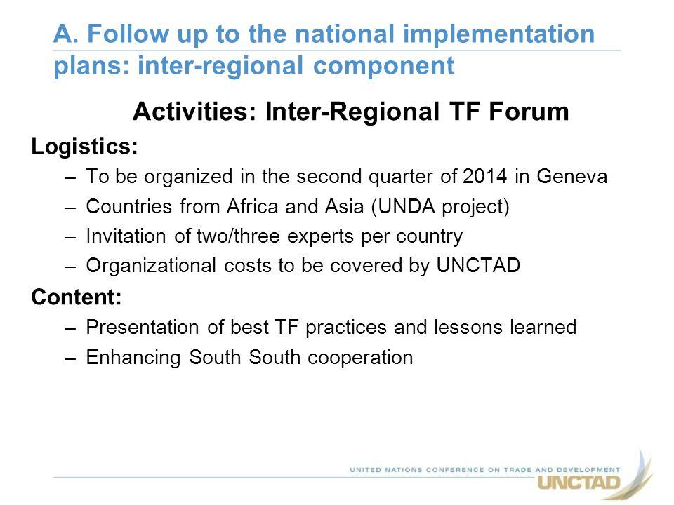 Activities: Inter-Regional TF Forum
