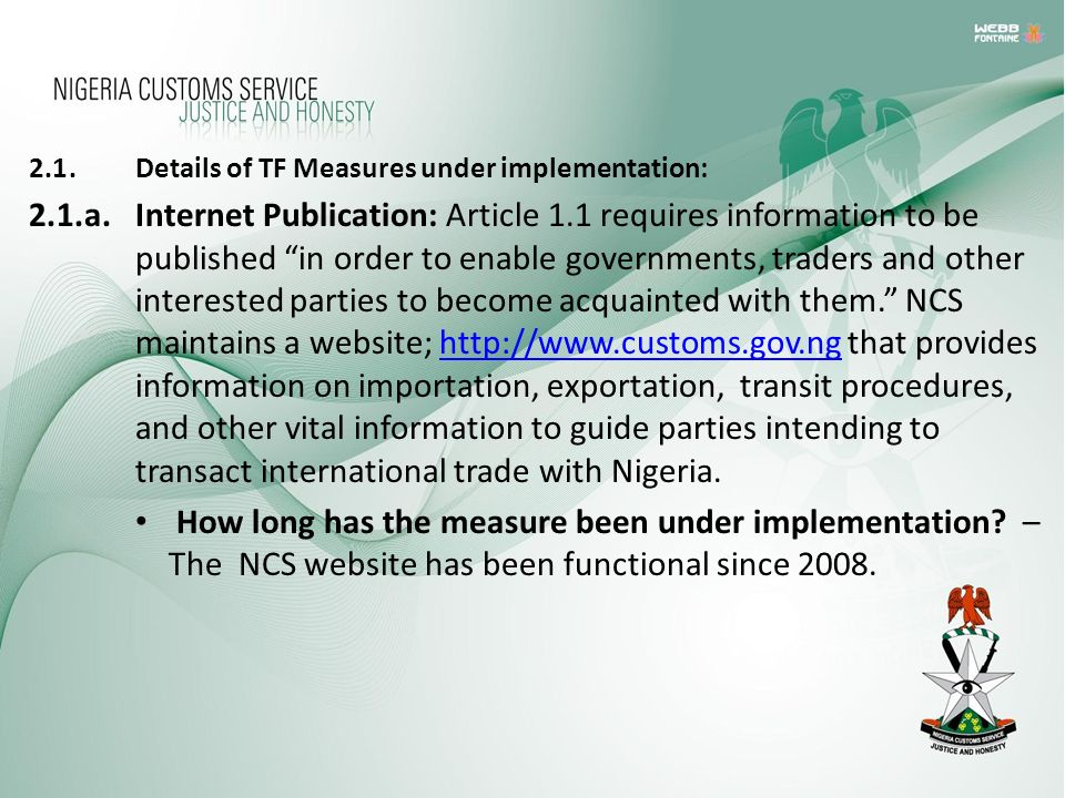 2.1 . Details of TF Measures under implementation: