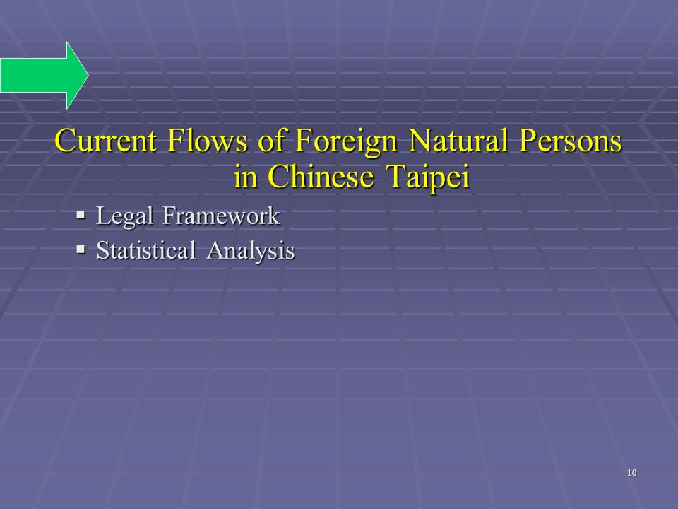 Current Flows of Foreign Natural Persons in Chinese Taipei