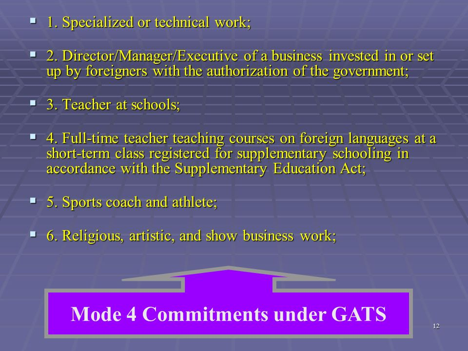 Mode 4 Commitments under GATS