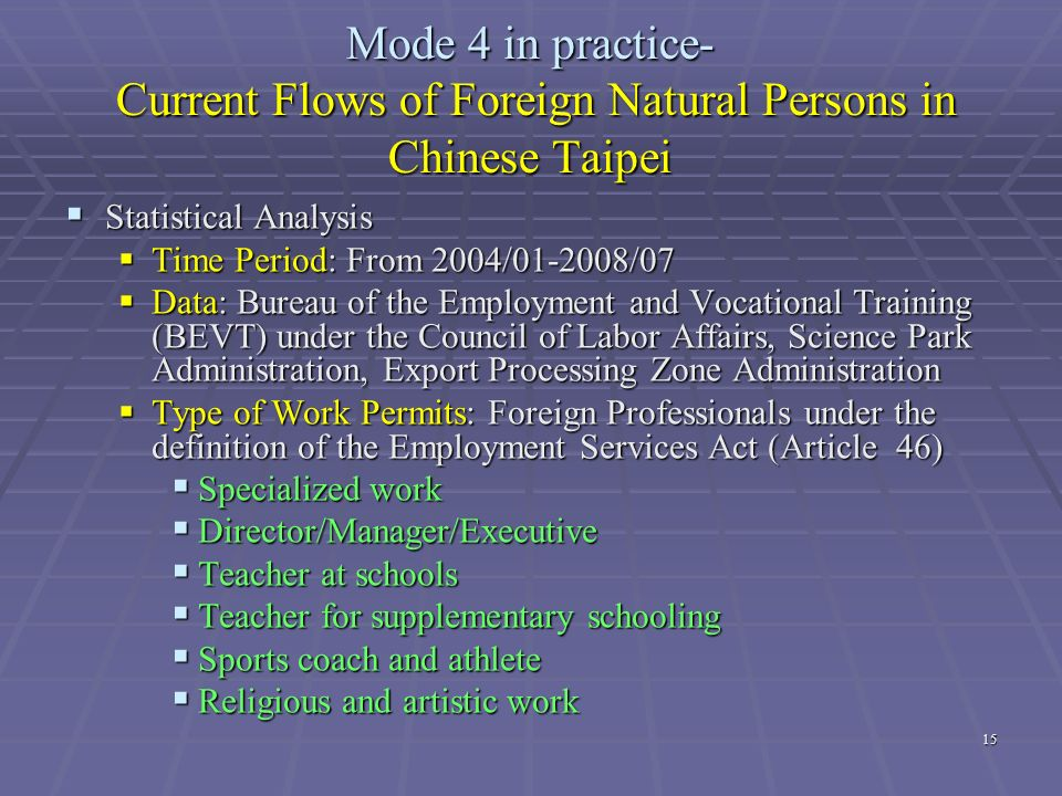 Mode 4 in practice- Current Flows of Foreign Natural Persons in Chinese Taipei