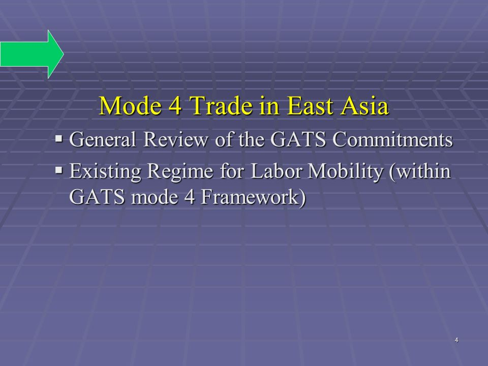 Mode 4 Trade in East Asia General Review of the GATS Commitments