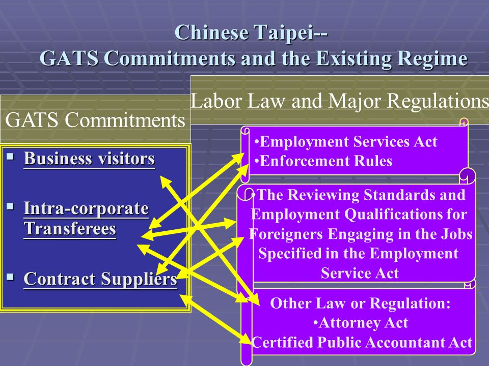 Chinese Taipei-- GATS Commitments and the Existing Regime