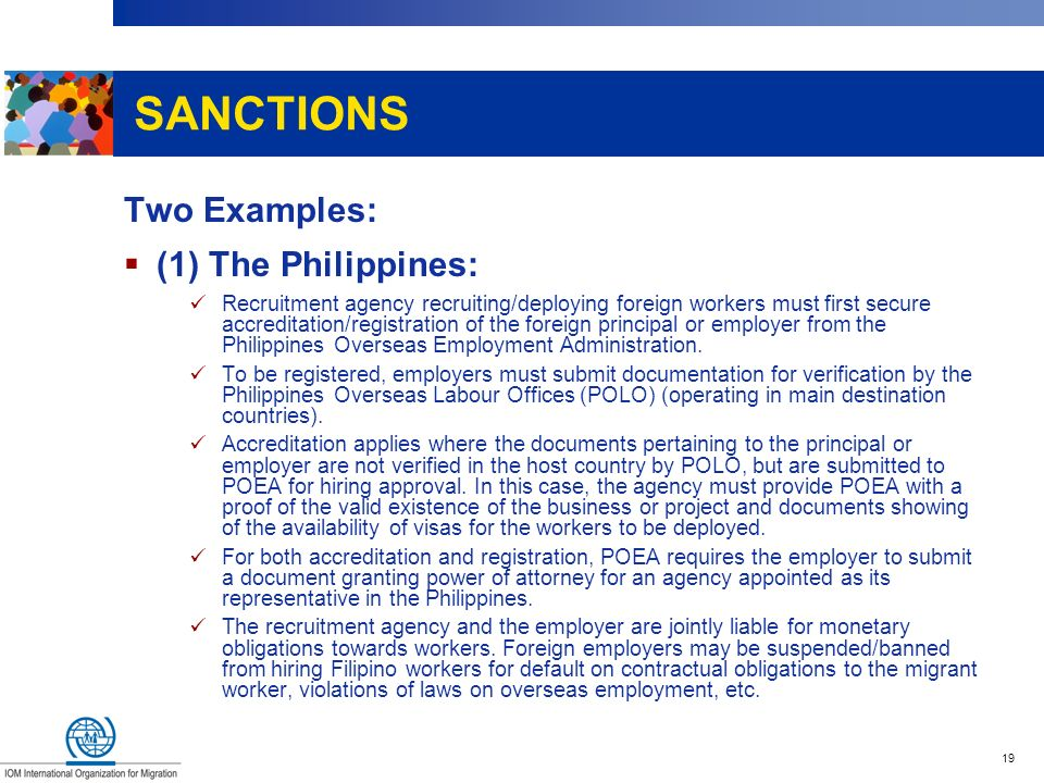 SANCTIONS Two Examples: (1) The Philippines: