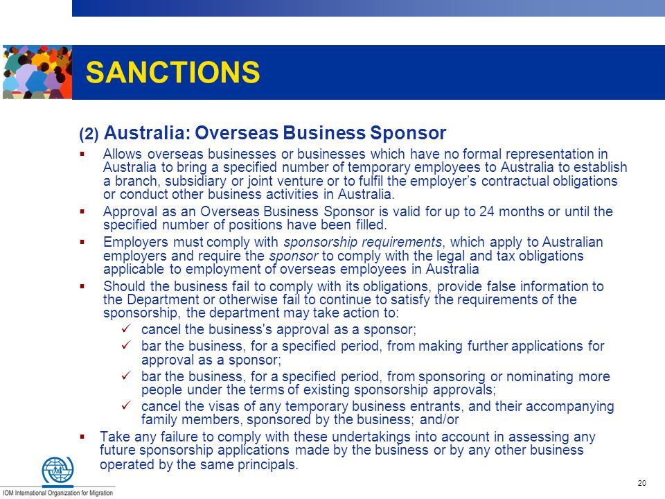SANCTIONS (2) Australia: Overseas Business Sponsor