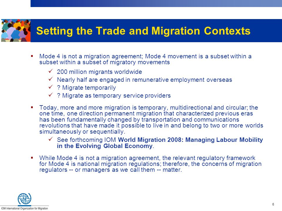 Setting the Trade and Migration Contexts