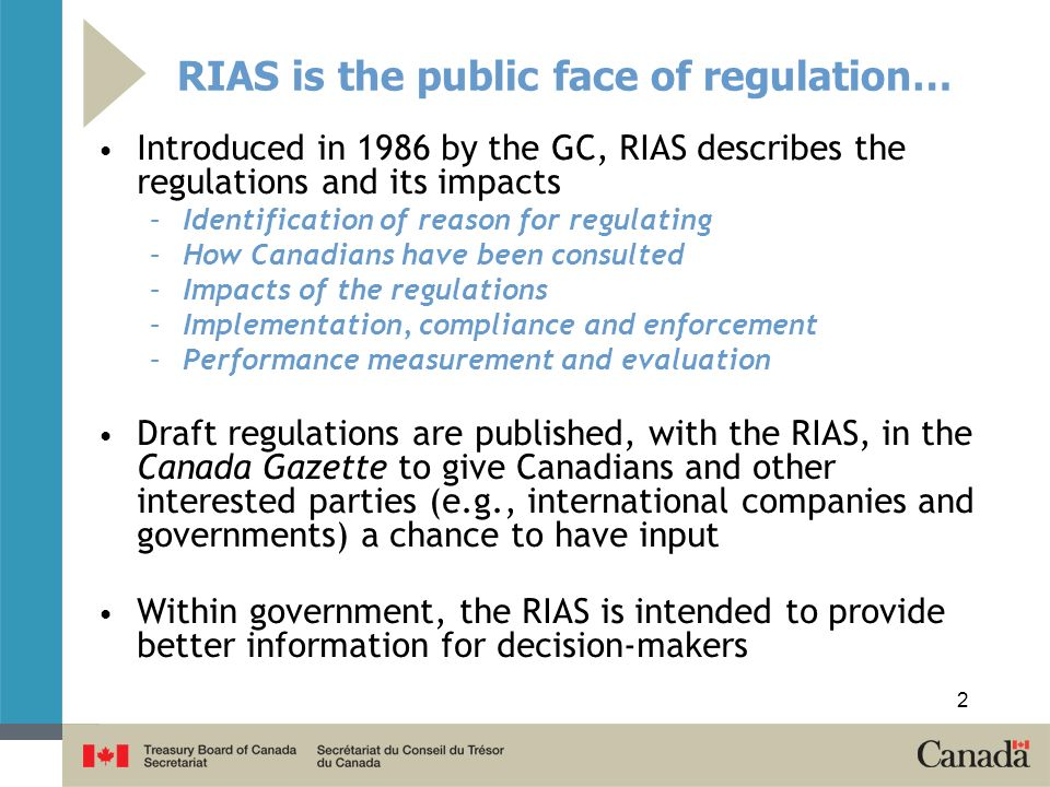 RIAS is the public face of regulation…