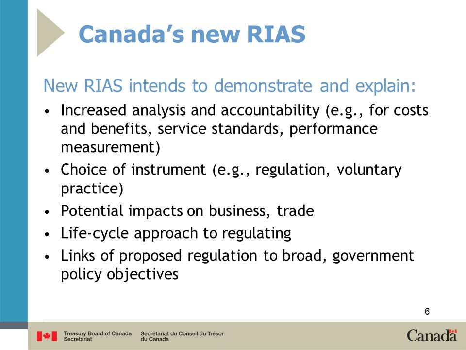 Canada's new RIAS New RIAS intends to demonstrate and explain: