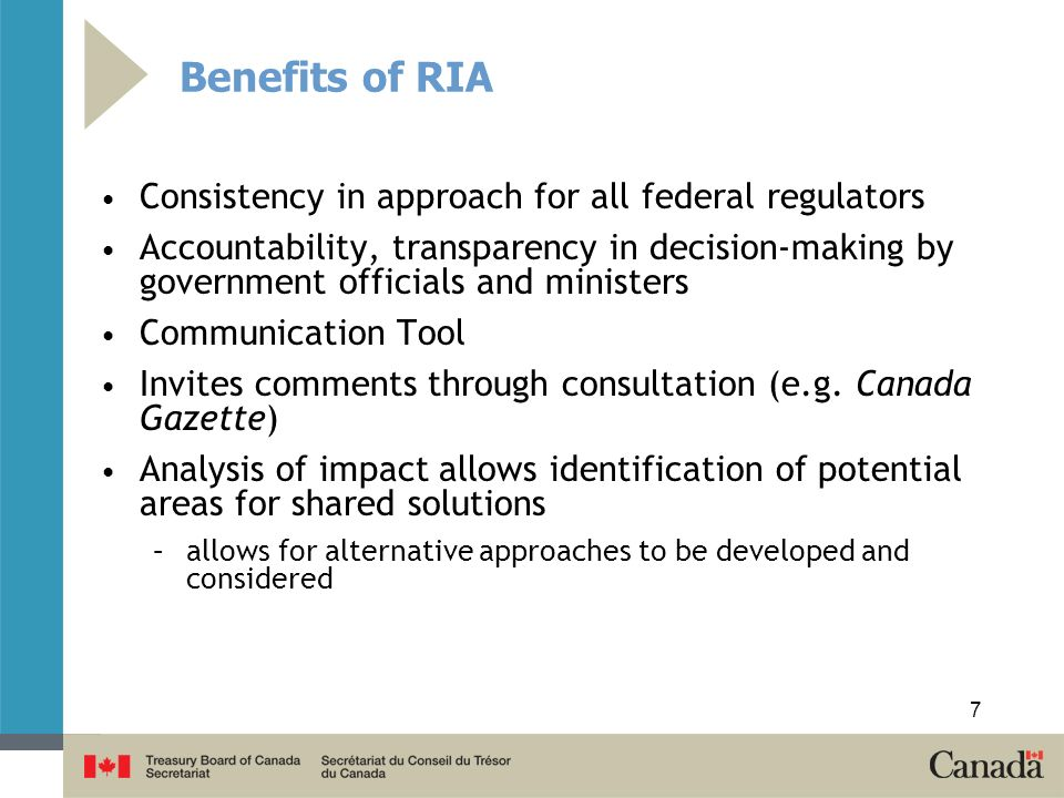 Benefits of RIA Consistency in approach for all federal regulators