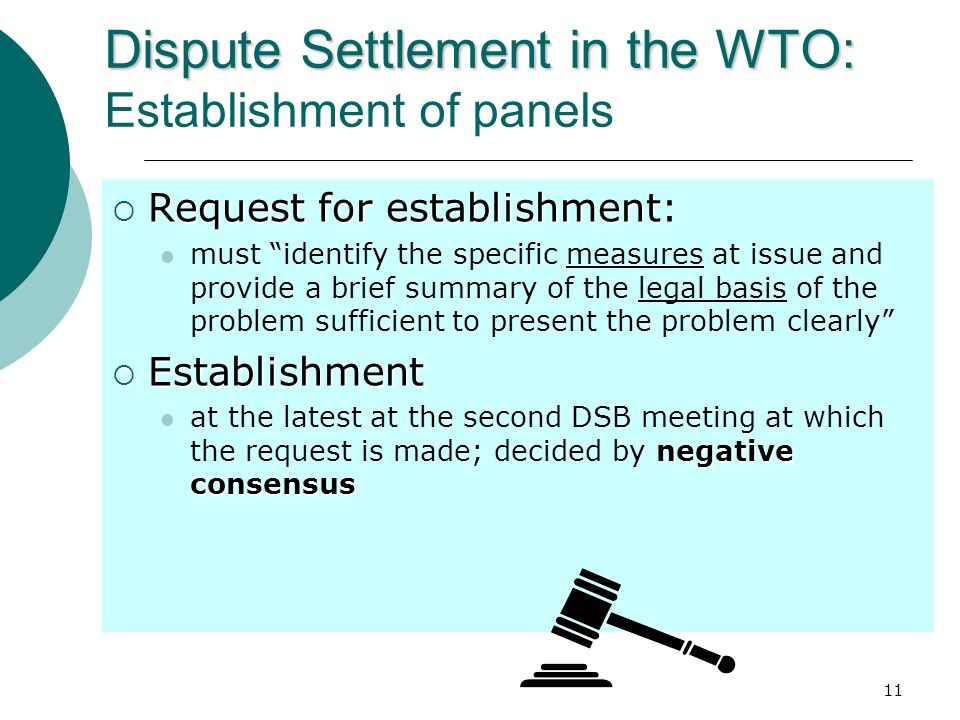 Dispute Settlement in the WTO: Establishment of panels