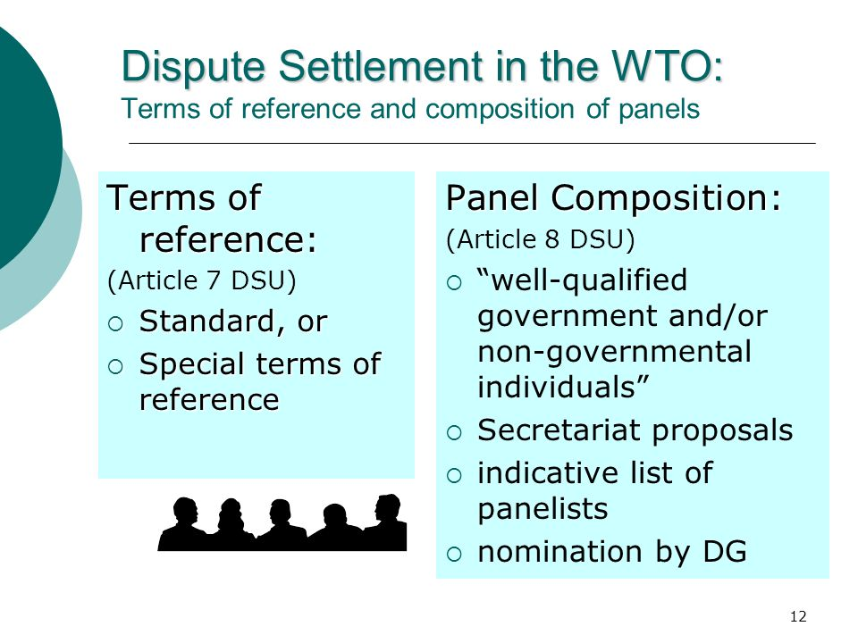 Dispute Settlement in the WTO: Terms of reference and composition of panels