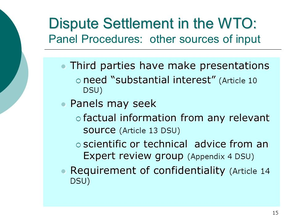 Dispute Settlement in the WTO: Panel Procedures: other sources of input